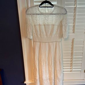 White eyelet cotton midi dress